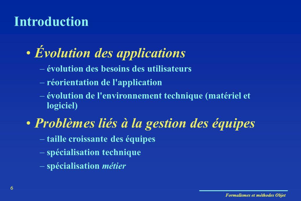 Formalismes et méthodes Objet 6 Évolution des applications –évolution des besoins des utilisateurs –réorientation de l'application –évolution de l'env