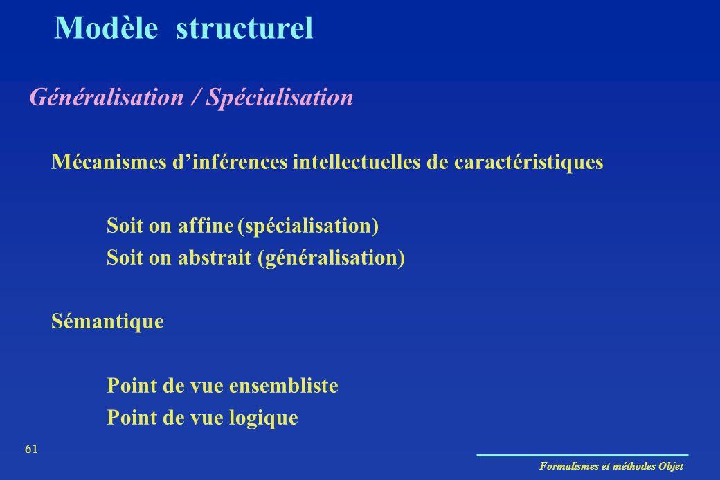 Formalismes et méthodes Objet 61 Modèle structurel Généralisation / Spécialisation Mécanismes dinférences intellectuelles de caractéristiques Soit on