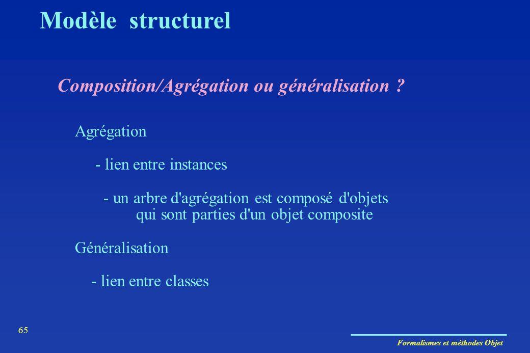 Formalismes et méthodes Objet 65 Composition/Agrégation ou généralisation ? Agrégation - lien entre instances - un arbre d'agrégation est composé d'ob