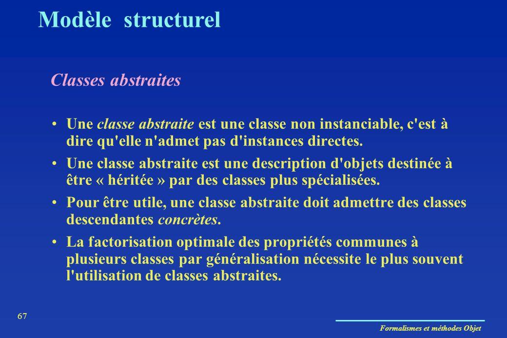 Formalismes et méthodes Objet 67 Classes abstraites Modèle structurel Une classe abstraite est une classe non instanciable, c'est à dire qu'elle n'adm