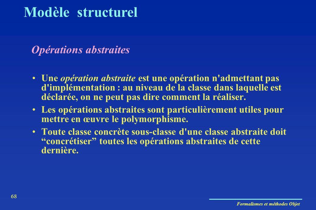 Formalismes et méthodes Objet 68 Opérations abstraites Modèle structurel Une opération abstraite est une opération n'admettant pas d'implémentation :