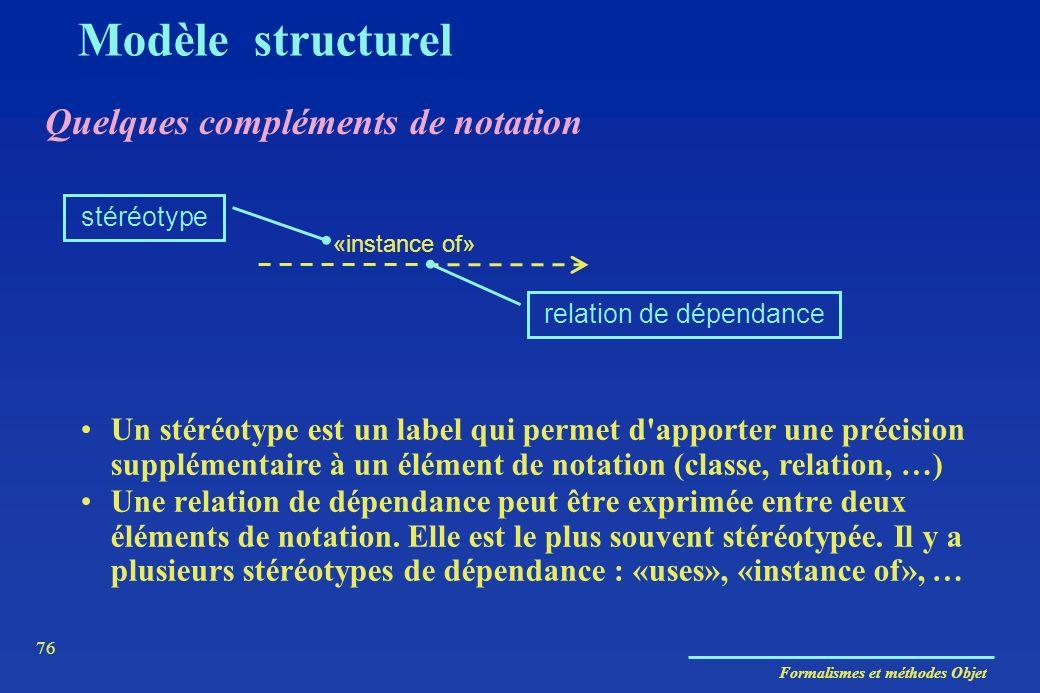 Formalismes et méthodes Objet 76 Quelques compléments de notation Modèle structurel Une relation de dépendance peut être exprimée entre deux éléments