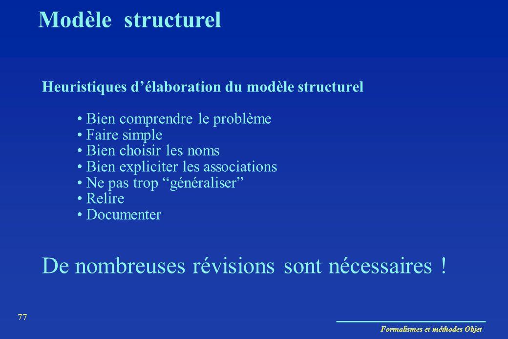 Formalismes et méthodes Objet 77 Heuristiques délaboration du modèle structurel Bien comprendre le problème Faire simple Bien choisir les noms Bien ex