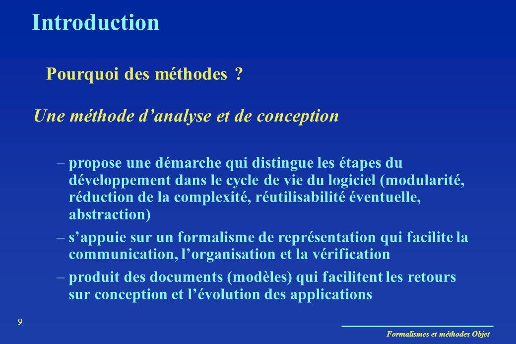 Formalismes et méthodes Objet 9 Une méthode danalyse et de conception –propose une démarche qui distingue les étapes du développement dans le cycle de