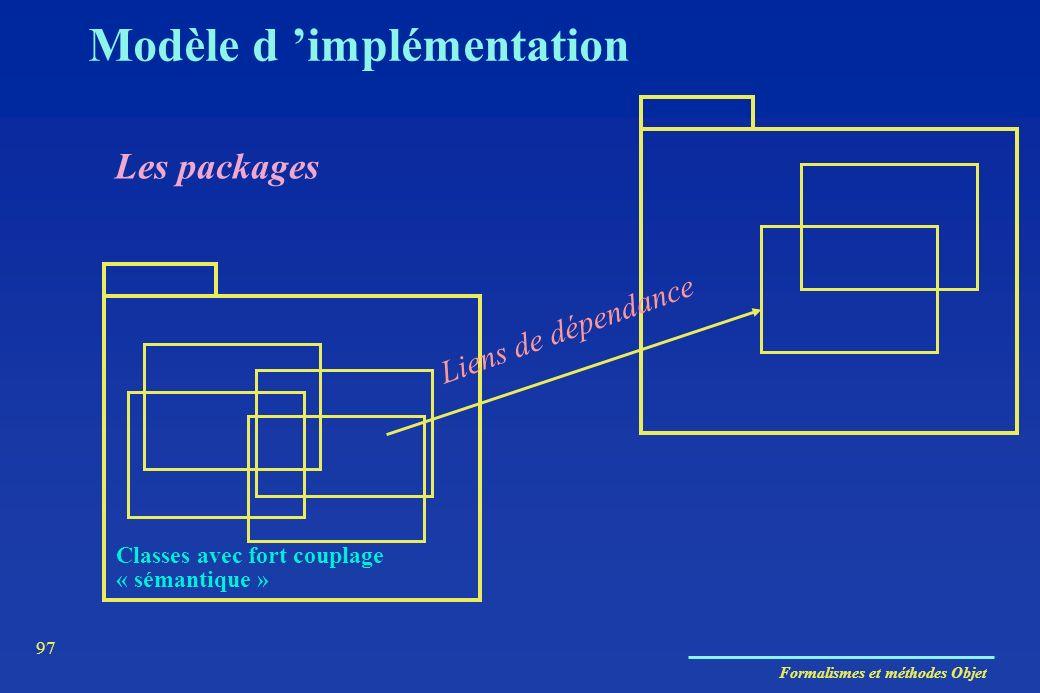 Formalismes et méthodes Objet 97 Modèle d implémentation Les packages Classes avec fort couplage « sémantique » Liens de dépendance