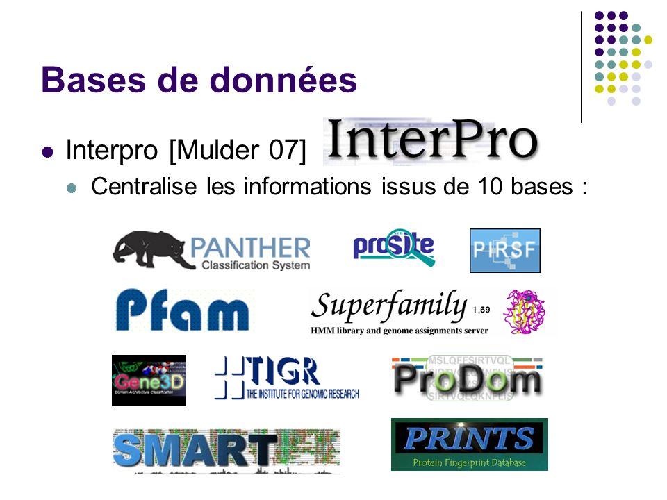 Bases de données Interpro [Mulder 07] Centralise les informations issus de 10 bases :