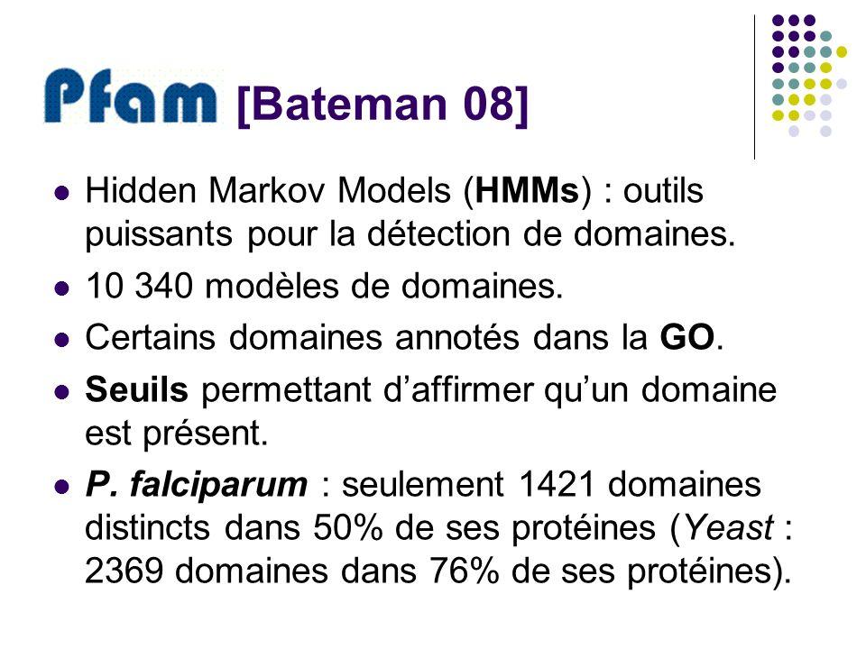 [Bateman 08] Hidden Markov Models (HMMs) : outils puissants pour la détection de domaines. 10 340 modèles de domaines. Certains domaines annotés dans