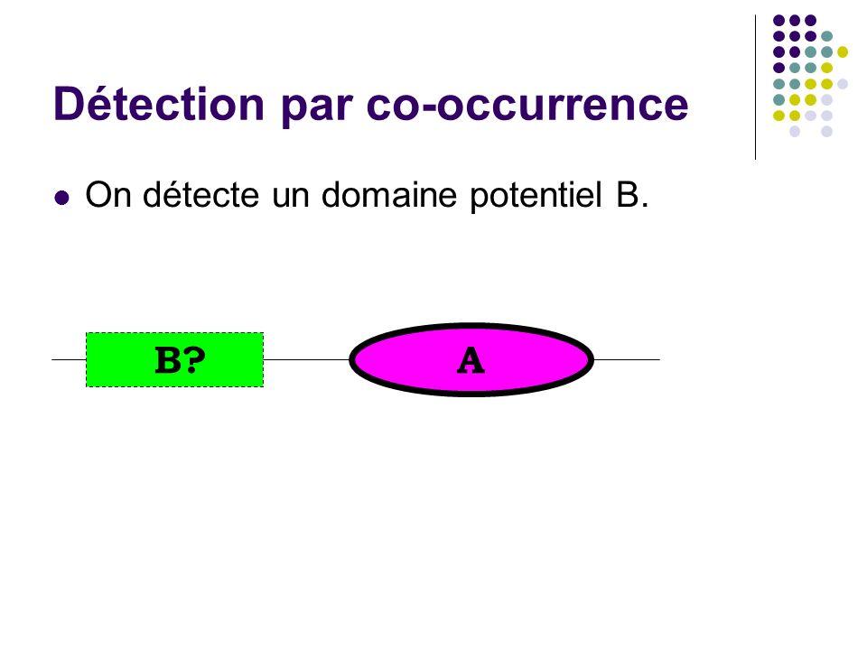 On détecte un domaine potentiel B. A B? Détection par co-occurrence