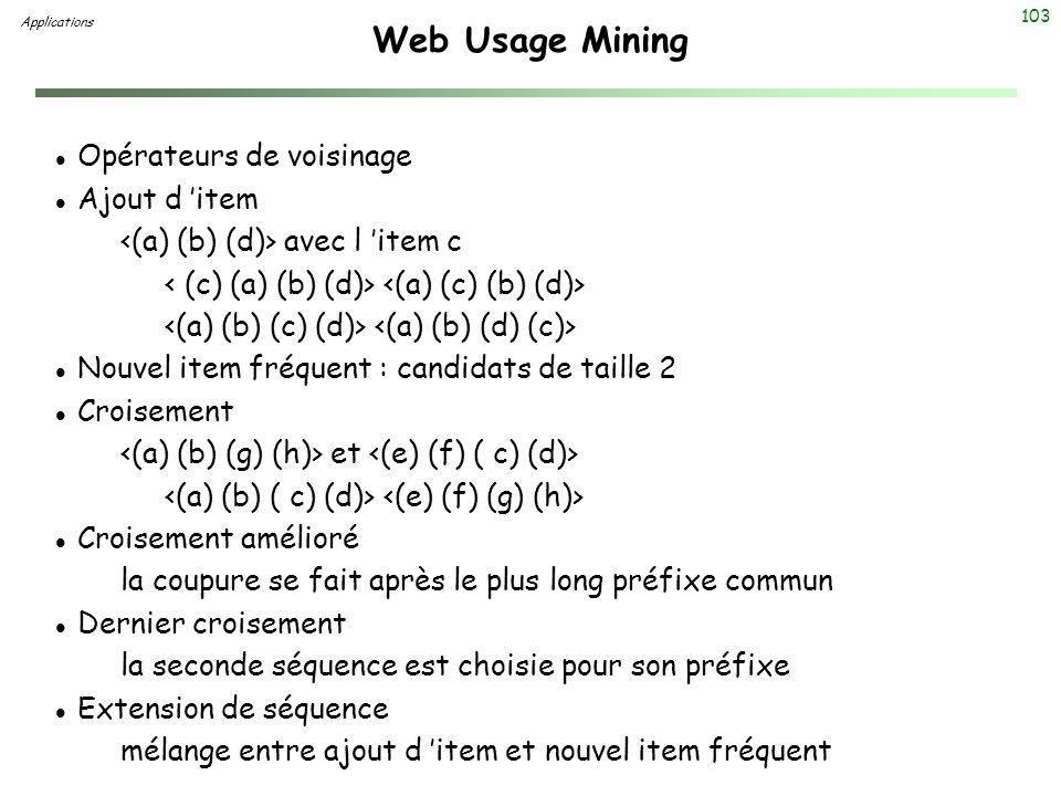 103 Web Usage Mining Applications l Opérateurs de voisinage l Ajout d item avec l item c l Nouvel item fréquent : candidats de taille 2 l Croisement e