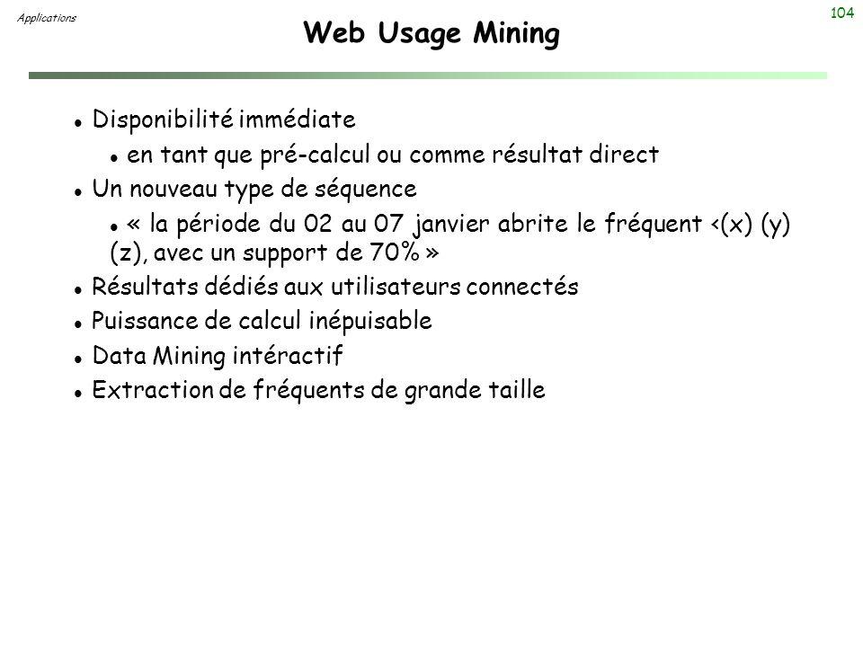 104 Web Usage Mining Applications l Disponibilité immédiate l en tant que pré-calcul ou comme résultat direct l Un nouveau type de séquence l « la pér