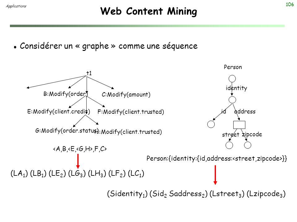 106 Web Content Mining Applications l Considérer un « graphe » comme une séquence Person:{identity:{id,address: }} B:Modify(order) E:Modify(client.cre