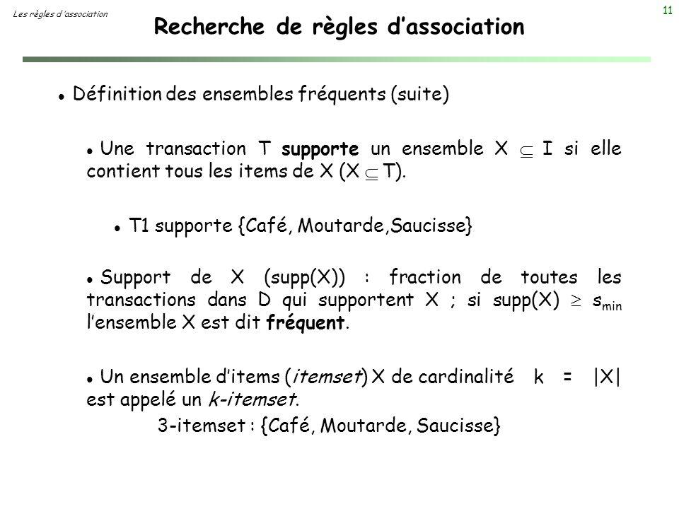 11 Recherche de règles dassociation Les règles d association l Définition des ensembles fréquents (suite) Une transaction T supporte un ensemble X I s