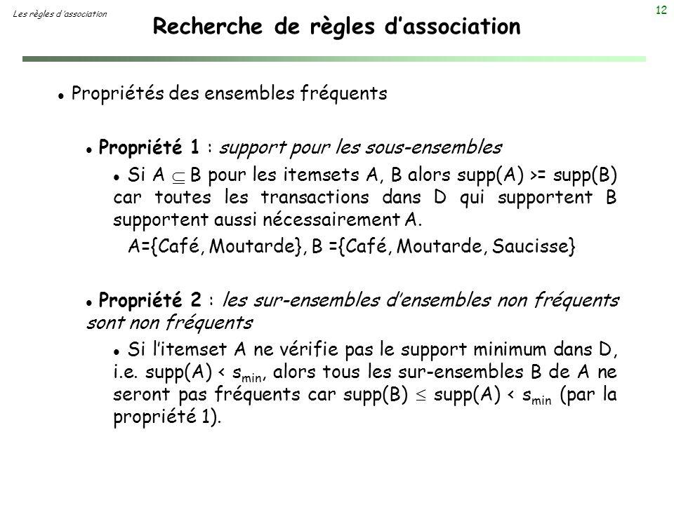 12 Recherche de règles dassociation Les règles d association l Propriétés des ensembles fréquents l Propriété 1 : support pour les sous-ensembles Si A