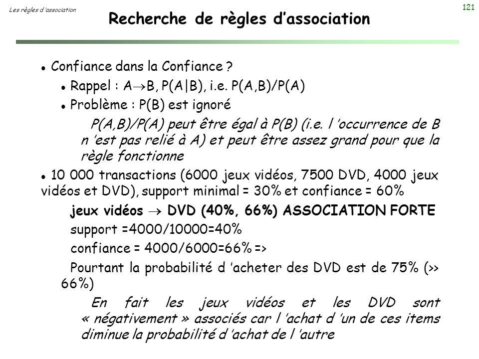121 Recherche de règles dassociation Les règles d association l Confiance dans la Confiance ? l Rappel : A B, P(A|B), i.e. P(A,B)/P(A) l Problème : P(