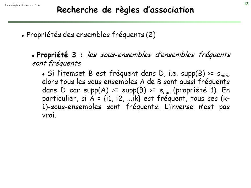 13 Recherche de règles dassociation Les règles d association l Propriétés des ensembles fréquents (2) l Propriété 3 : les sous-ensembles densembles fr