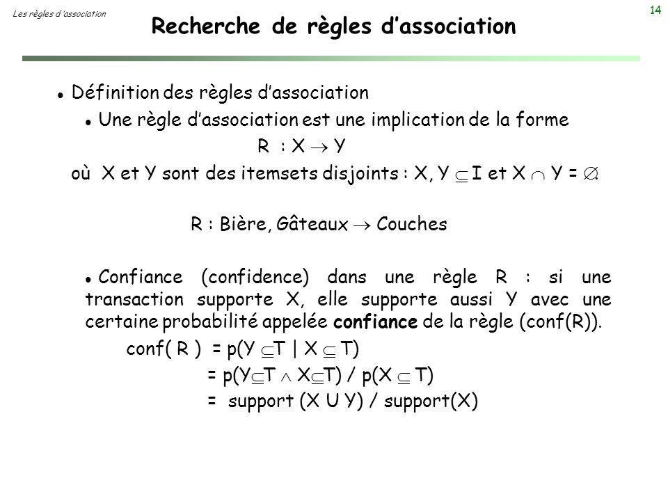 14 Recherche de règles dassociation Les règles d association l Définition des règles dassociation l Une règle dassociation est une implication de la f