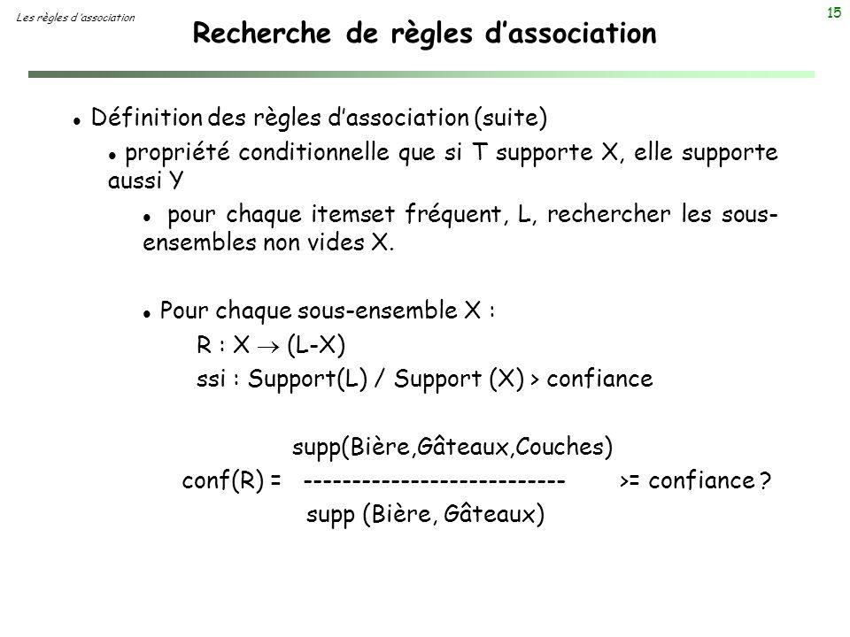 15 Recherche de règles dassociation Les règles d association l Définition des règles dassociation (suite) l propriété conditionnelle que si T supporte
