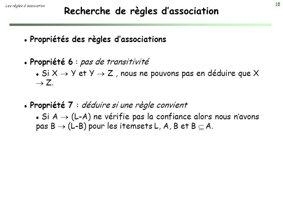 18 Recherche de règles dassociation Les règles d association l Propriétés des règles dassociations l Propriété 6 : pas de transitivité Si X Y et Y Z,