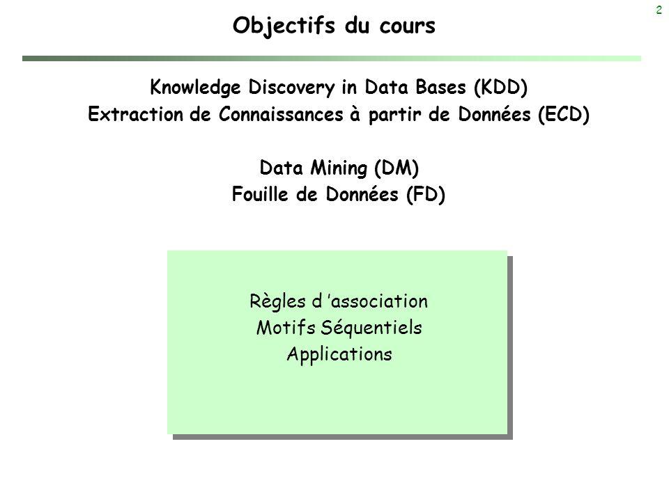 2 Objectifs du cours Knowledge Discovery in Data Bases (KDD) Extraction de Connaissances à partir de Données (ECD) Data Mining (DM) Fouille de Données