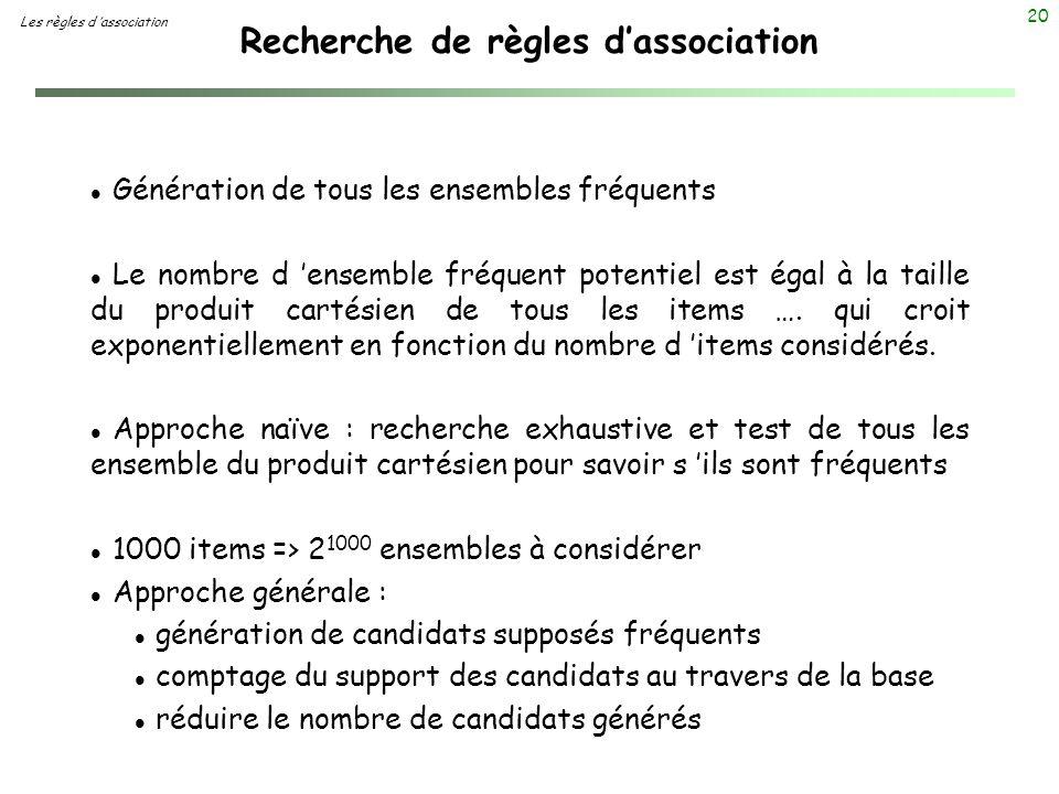 20 Recherche de règles dassociation Les règles d association l Génération de tous les ensembles fréquents l Le nombre d ensemble fréquent potentiel es