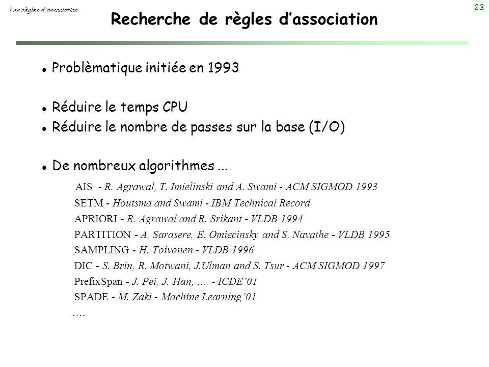 23 Recherche de règles dassociation Les règles d association l Problèmatique initiée en 1993 l Réduire le temps CPU l Réduire le nombre de passes sur
