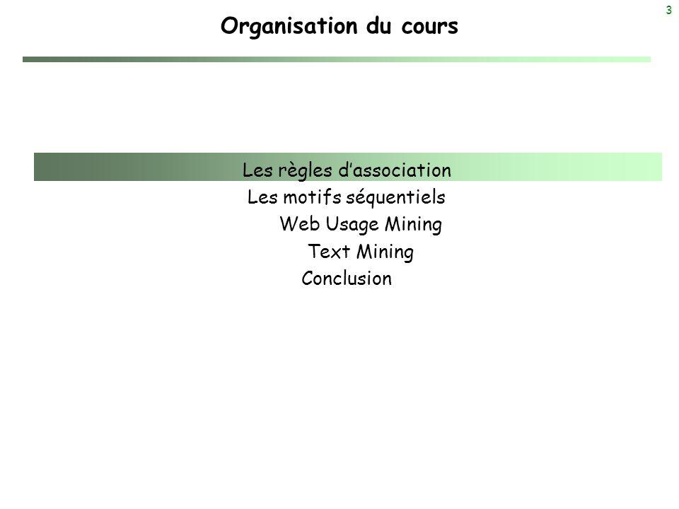 3 Organisation du cours Les règles dassociation Les motifs séquentiels Web Usage Mining Text Mining Conclusion