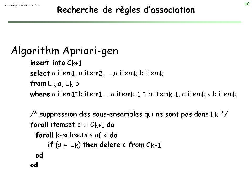 40 Recherche de règles dassociation Les règles d association