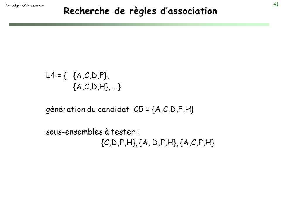 41 Recherche de règles dassociation Les règles d association L4 = {{A,C,D,F}, {A,C,D,H},...} génération du candidat C5 = {A,C,D,F,H} sous-ensembles à