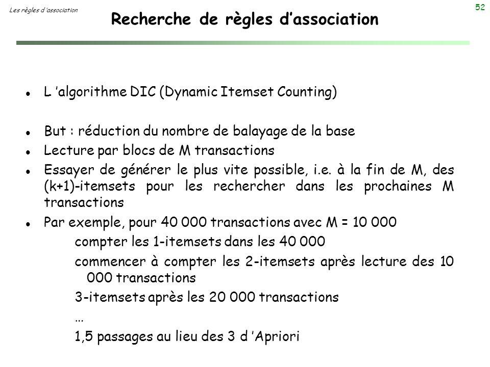52 Recherche de règles dassociation Les règles d association l L algorithme DIC (Dynamic Itemset Counting) l But : réduction du nombre de balayage de