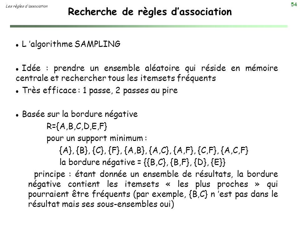 54 Recherche de règles dassociation Les règles d association l L algorithme SAMPLING l Idée : prendre un ensemble aléatoire qui réside en mémoire cent