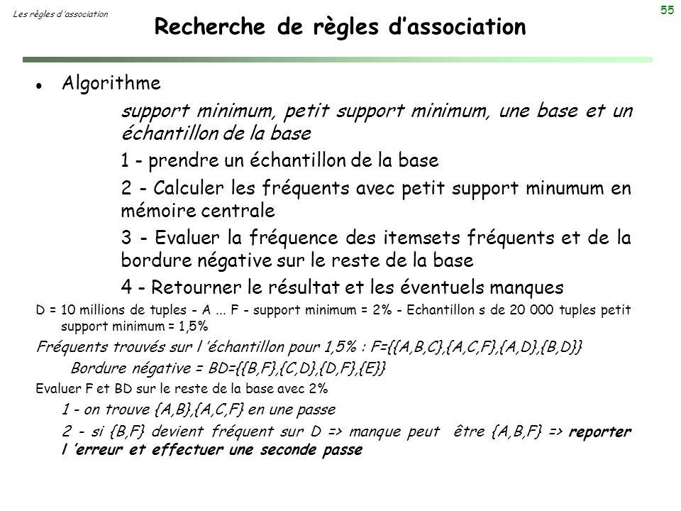 55 Recherche de règles dassociation Les règles d association l Algorithme support minimum, petit support minimum, une base et un échantillon de la bas