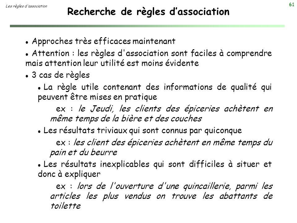 61 Recherche de règles dassociation Les règles d association l Approches très efficaces maintenant l Attention : les règles d'association sont faciles