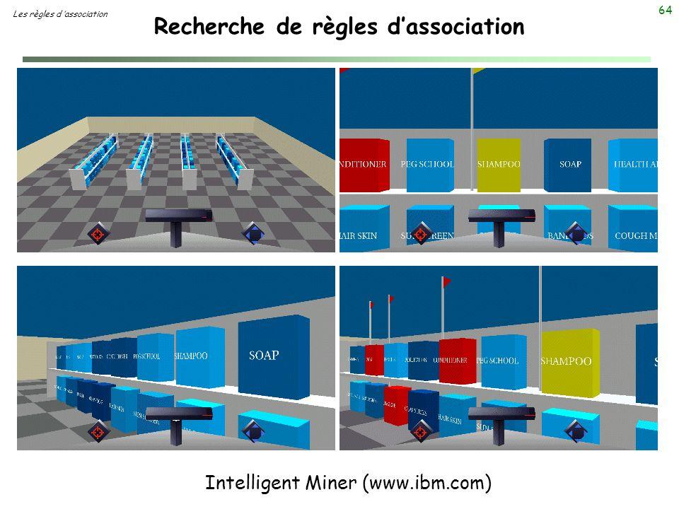 64 Recherche de règles dassociation Les règles d association Intelligent Miner (www.ibm.com)