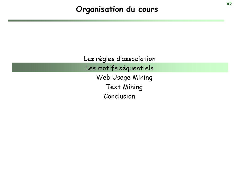 65 Organisation du cours Les règles dassociation Les motifs séquentiels Web Usage Mining Text Mining Conclusion