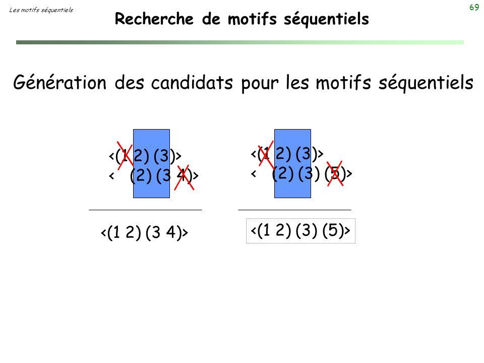 69 Recherche de motifs séquentiels Génération des candidats pour les motifs séquentiels Les motifs séquentiels