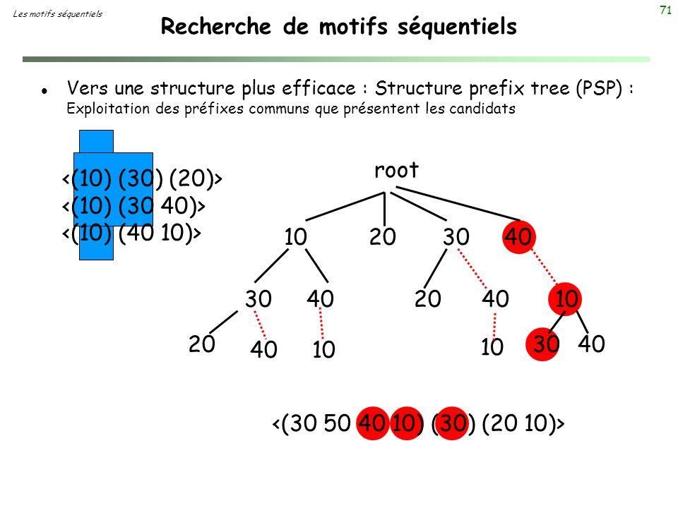 71 Recherche de motifs séquentiels l Vers une structure plus efficace : Structure prefix tree (PSP) : Exploitation des préfixes communs que présentent