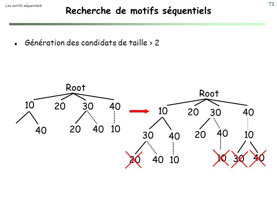 73 Recherche de motifs séquentiels l Génération des candidats de taille > 2 10 20 30 40 Root 40 20 40 10 20 30 40 Root 30 40 20 40 10 2040 10 30 40 Le