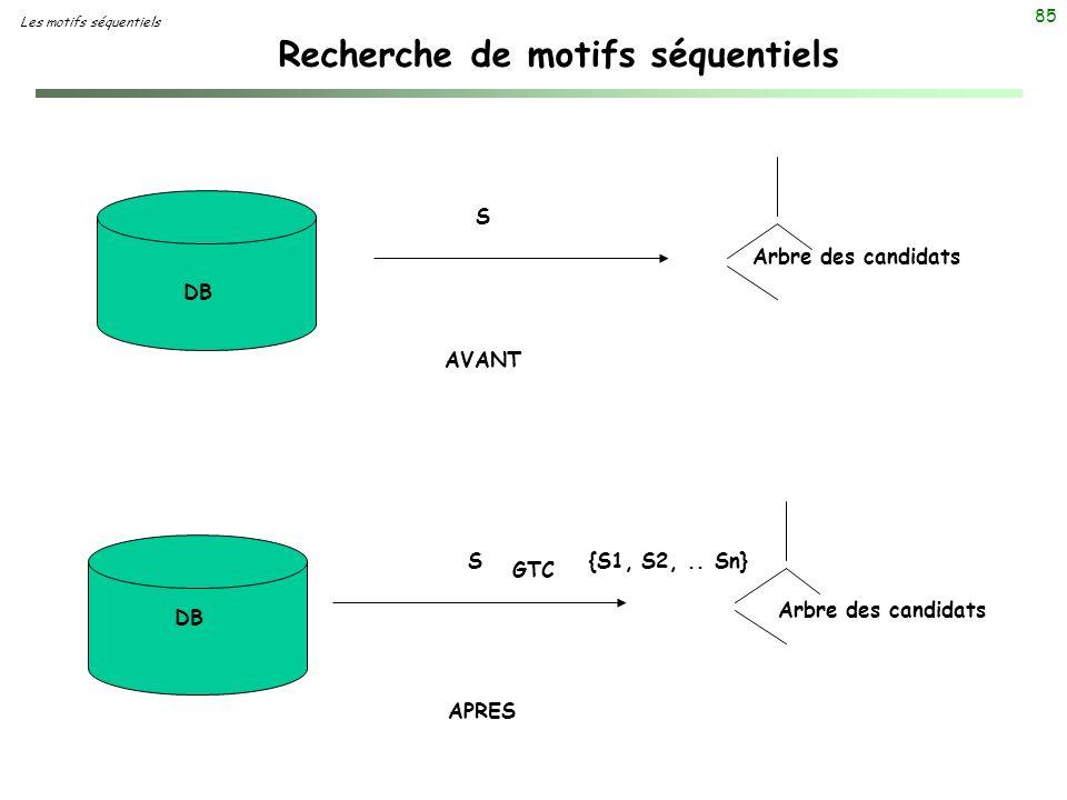 85 Recherche de motifs séquentiels Les motifs séquentiels S S {S1, S2,.. Sn} DB GTC AVANT APRES Arbre des candidats