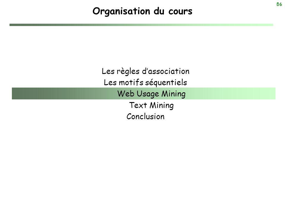 86 Organisation du cours Les règles dassociation Les motifs séquentiels Web Usage Mining Text Mining Conclusion