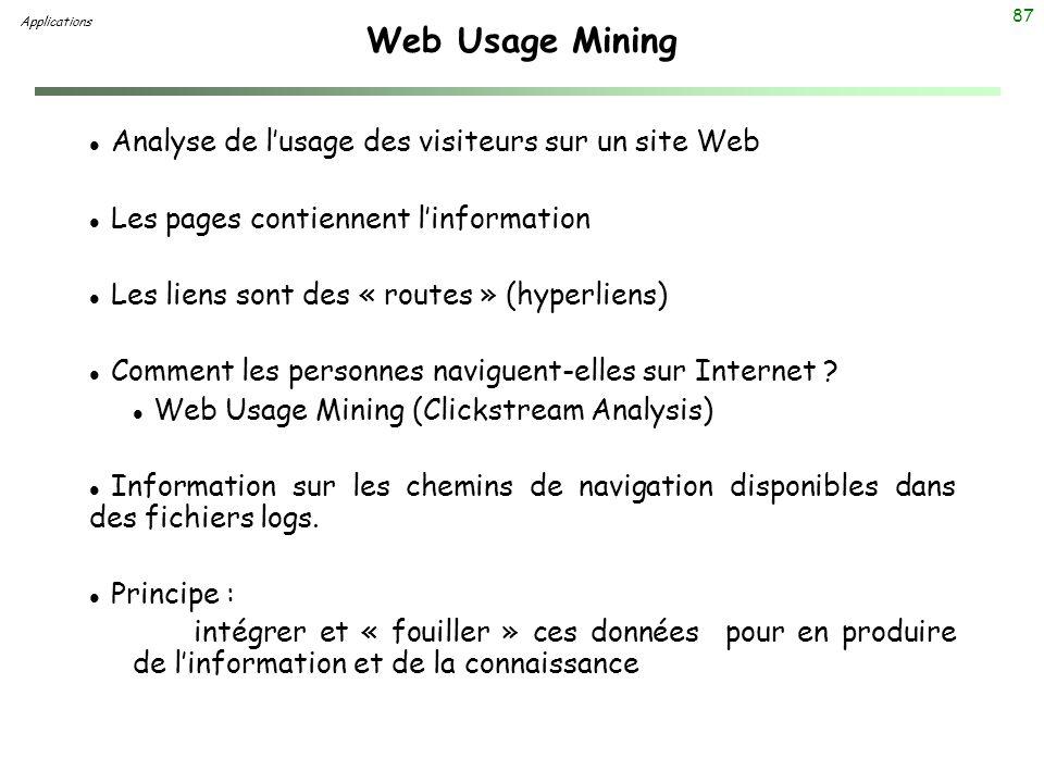 87 Web Usage Mining Applications l Analyse de lusage des visiteurs sur un site Web l Les pages contiennent linformation l Les liens sont des « routes