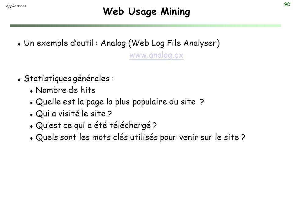 90 Web Usage Mining l Un exemple doutil : Analog (Web Log File Analyser) www.analog.cx l Statistiques générales : l Nombre de hits l Quelle est la pag