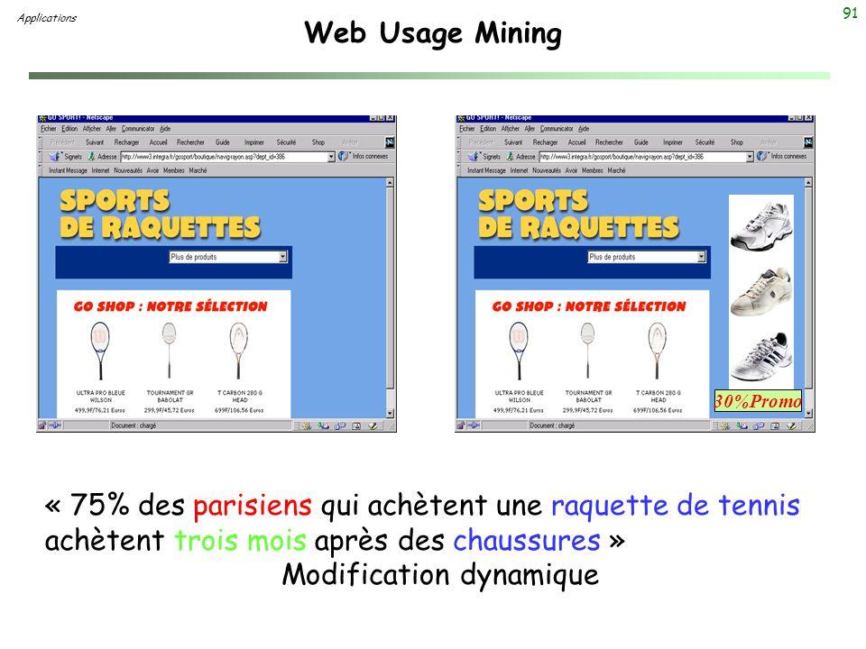 91 Web Usage Mining Applications « 75% des parisiens qui achètent une raquette de tennis achètent trois mois après des chaussures » Modification dynam