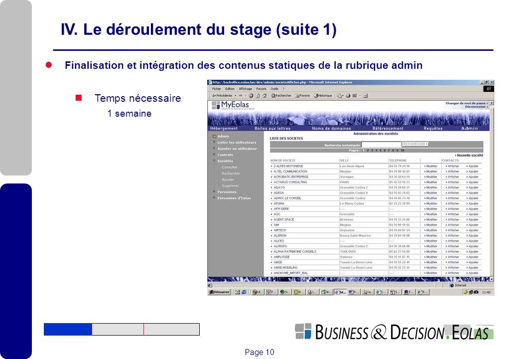 Page 10 Finalisation et intégration des contenus statiques de la rubrique admin Temps nécessaire 1 semaine IV. Le déroulement du stage (suite 1)