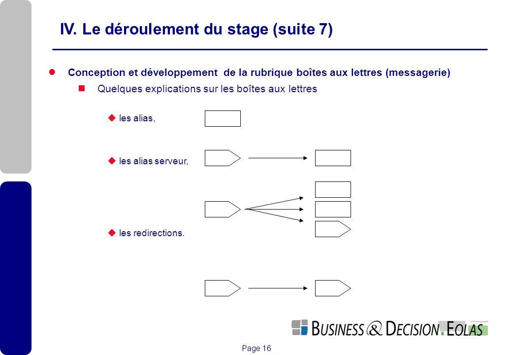 Page 16 Conception et développement de la rubrique boîtes aux lettres (messagerie) Quelques explications sur les boîtes aux lettres les alias, les ali