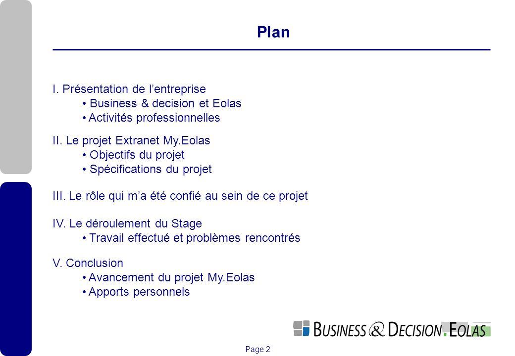 Page 2 Plan I. Présentation de lentreprise Business & decision et Eolas Activités professionnelles II. Le projet Extranet My.Eolas Objectifs du projet