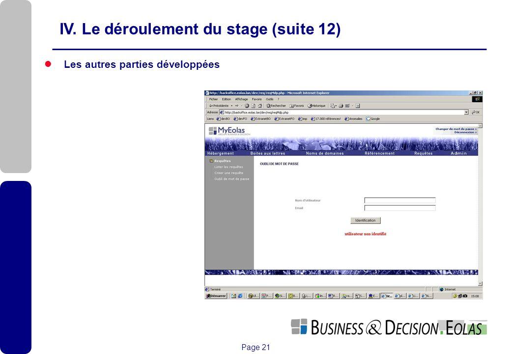 Page 21 Les autres parties développées IV. Le déroulement du stage (suite 12)