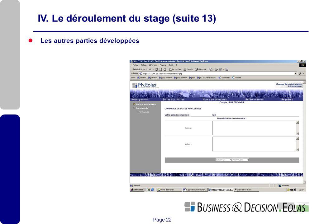 Page 22 Les autres parties développées IV. Le déroulement du stage (suite 13)