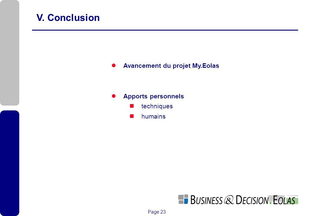Page 23 V. Conclusion Avancement du projet My.Eolas Apports personnels techniques humains