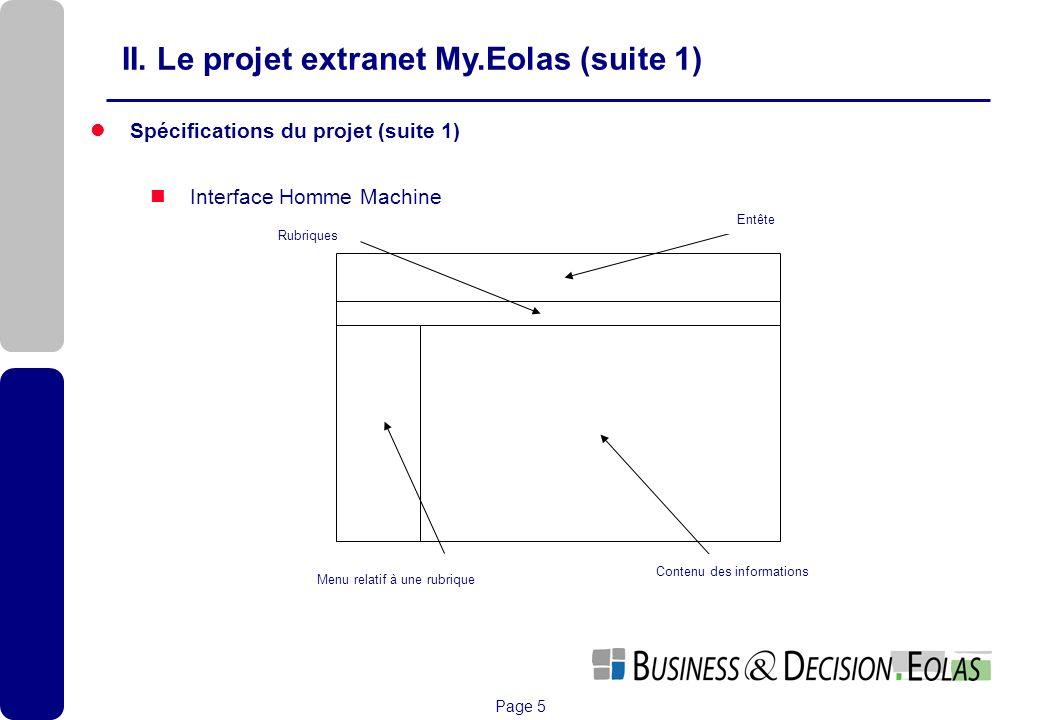 Page 5 Interface InHomme Machine Spécifications du projet (suite 1) Interface Homme Machine II. Le projet extranet My.Eolas (suite 1) Entête Rubriques