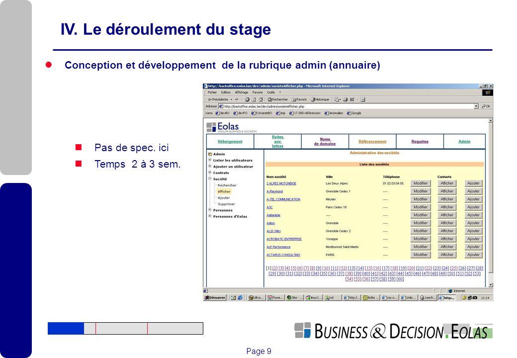 Page 9 IV. Le déroulement du stage Conception et développement de la rubrique admin (annuaire) Pas de spec. ici Temps 2 à 3 sem.